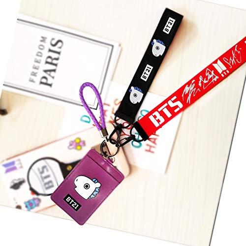 eKoi Kpop Lanyard ID Card Badge Holder Bantan Boy BTS Keyring Keychain Clip Detachable Neckhanger Phone Wrist Strap Merchandise Souvenir Set for Army (MANG)