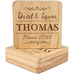 Personalized Wedding Coasters, Customized Engraved Coasters, Housewarming Gifts for Men, Hostess Gift Set - Square/Round 4 Piece Set
