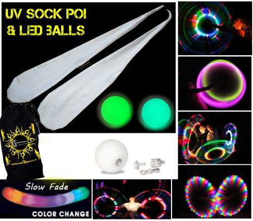 LED GLOW Sock Poi (SLOW FADE) Pair of Quality Stretchy Lycra Spinning Poi Socks + 2x LED GLOW Balls + Travel Bag! by Flames 'N Games Poi (Image #1)