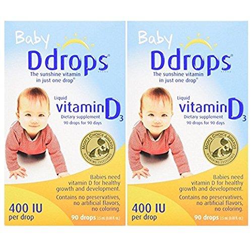 Ddrops Baby vykDd 400 IU, 90 drops 2.5mL - 90 Drops (2 Pack) by Fdrogs