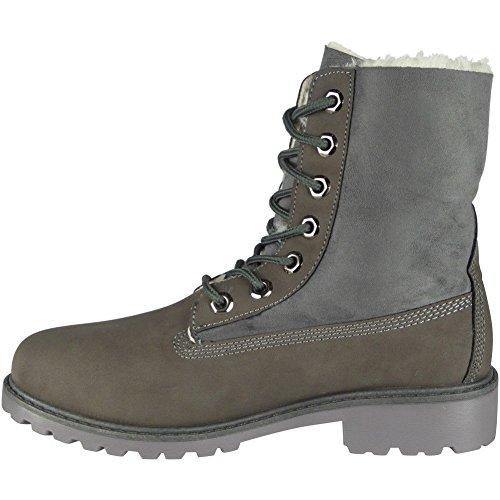 de altos el tamaño piel tacón arriba gris superiores bajo forro señoras 3 botines del la zapatos atan 8 para Las wxpqYFvw