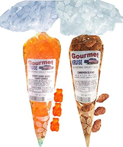 Energy Orange Gummy Gummi Bears And Almonds Cinnamon Roasted Delicately (NET WT 16 OZ) Gourmet Kruise Signature Gift Bags