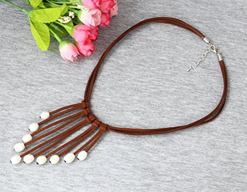 reshwater Pearls Leather Necklace Multi Strand Costume Jewelry on Suede Cord ()