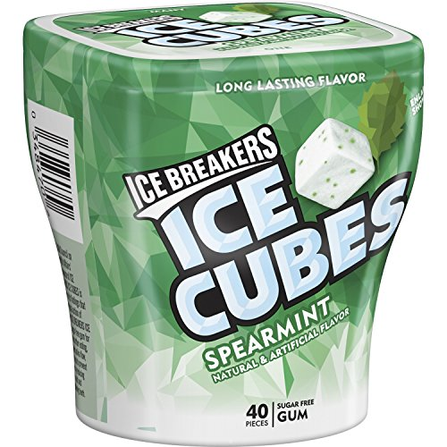 ICE BREAKERS ICE CUBES Chewing Gum, Spearmint, Sugar Free, 40 Piece Cube Pack Container (Count of 4)