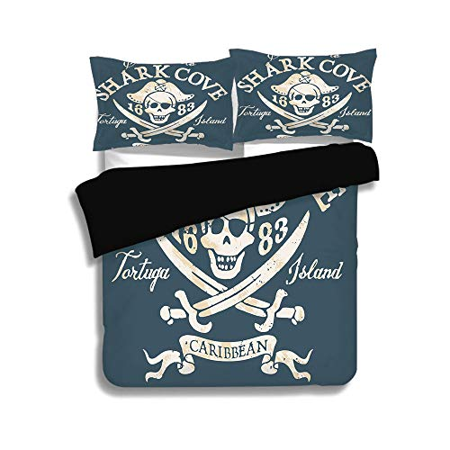 over Set Full Size,Pirate,Shark Cove Tortuga Island Caribbean Waters Retro Jolly Roger,Slate Blue White Light Mustard,Decorative 3 Pcs Bedding Set by 2 Pillow Shams ()