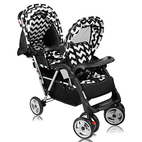 GraceShop Strong Structure and Strong Steel Frame Foldable Twin Baby Double Stroller Kids Travel Infant Pushchair Black