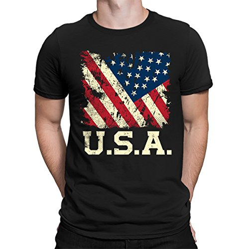 SpiritForged Apparel USA Distressed American Flag Mens T-Shirt