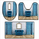 qianhehome Bathroom Household Rug Empty with Two s Armchair and Simple Mirror with Golden Color Frame .Non Slip Comfortable SND Soft 16.9''x15.7''-17.7''x17.5''-23.6''x15.7''