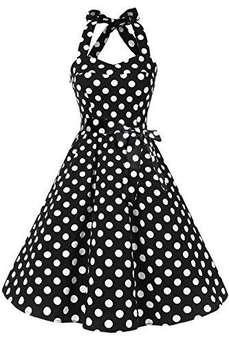 (Topdress Women's Vintage Polka Audrey Dress 1950s Halter Retro Cocktail Dress Black Dot 2XL)
