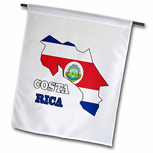 3dRose fl_58774_1 The Flag of Costa Rica in The Outline Map and Words Costa Rica Garden Flag, 12 by 18-Inch (Best Shopping In Costa Rica)
