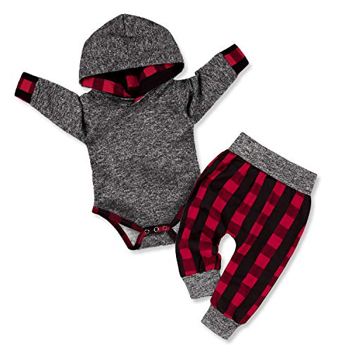 Newborn Baby Boy Clothes Plaid Letter Print Long Sleeve Hoodies + Long Pants 2PCS Outfits Set