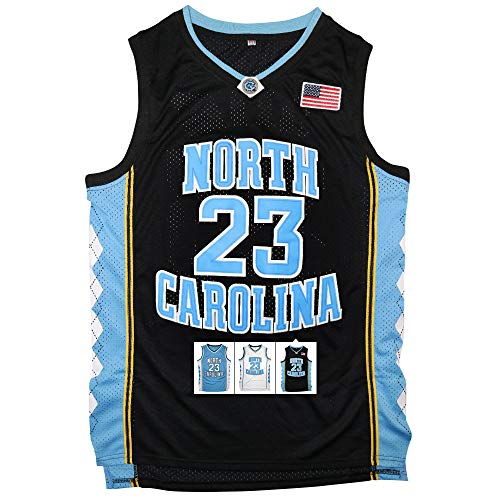 23 Jersey - Antsport #23 North Carolina Mens Basketball Jersey Retro Jersey S-XXXL (Black, XL)