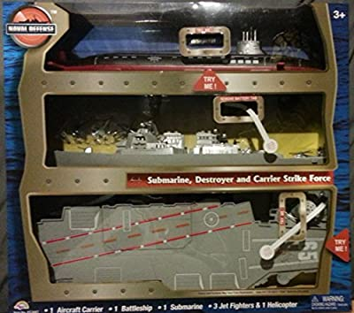 Set of 3 Navy US Ships - Defense Submarine, Destroyer, and Aircraft Carrier Strike Force with Realistic Light and Sound
