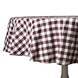country kitchen table cloth Wine and White Checkered Kitchen/Dining Room Tablecloth: Gingham/Plaid Design, Cotton Rich (70