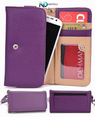 Sony Xperia ion LTE [Purple] Universal Travel Clutch / Cell Phone Case Cover + Complimentary Complimentary NextDia ™ Velcro Cable Wrap