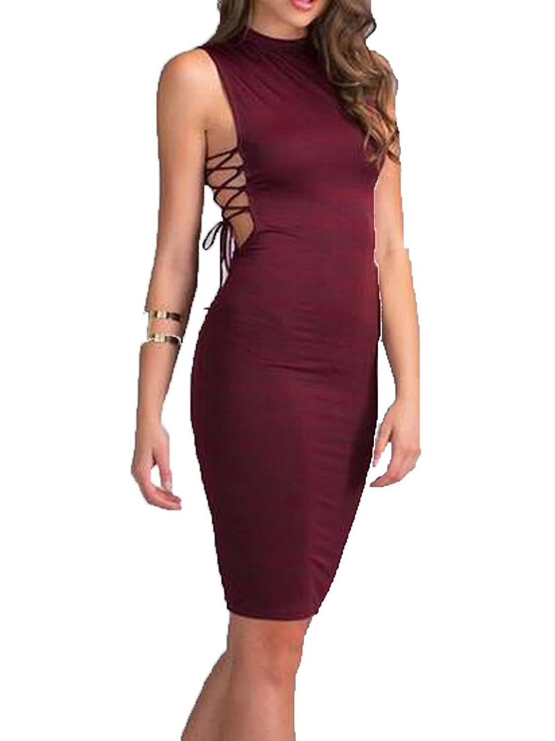 Winwinus Women's Hollow Out Bandage Strappy Bodycon Dress WineRed US L