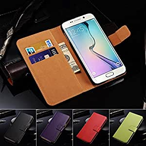 S6 Flip Real Genuine Leather Case for Samsung Galaxy S6 G9200 With Card Holder Phone Bag Durable Cover 10 Colors --- Color:Green Case
