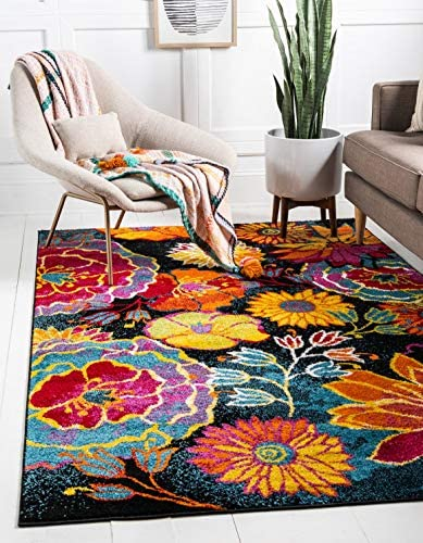 Unique Loom Lyon Collection Modern Floral Black Area Rug 8 0 x 10 0