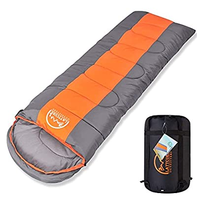 "LATTCURE Sleeping Bag, Comfort Portable Lightweight Envelope Sleeping Bag with Compression Sack?for Camping,Hiking,Backpacking,Traveling and Other Outdoor Activities -Single,Orange+Grey,(75""+12"") x33"