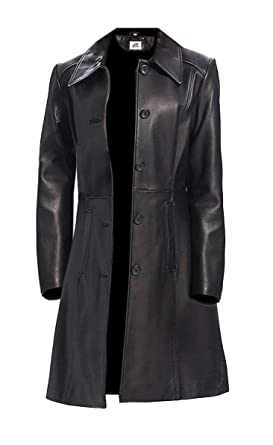d1f98e2635 ST Leather Trench Coat Full Length Women Long Black Leather Jacket 5  Buttons Faux Regular Petite Slim Fit Short Plus Size at Amazon Women s  Coats Shop