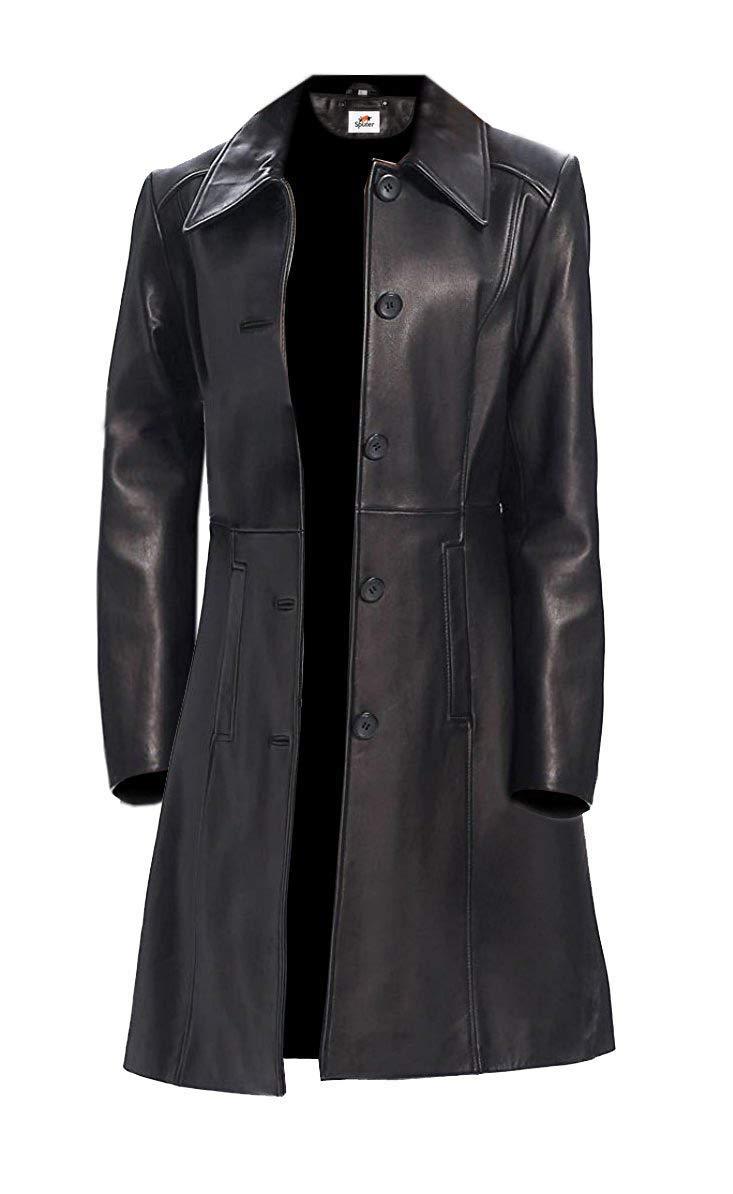 996dd3579e3 ST Leather Trench Coat Full Length Women Long Black Leather Jacket 5  Buttons Faux Regular Petite Slim Fit Short Plus Size