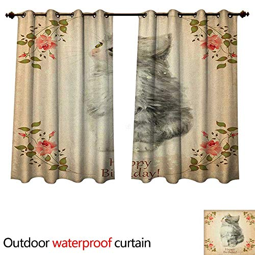 (Anshesix Birthday Outdoor Curtain for Patio Adorable Fluffy Cat with Rose Branches in Greeting Card Inspired Design W96 x L72(245cm x 183cm))