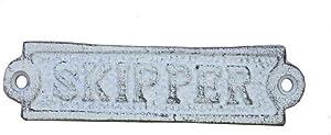 "Hampton Nautical Cast Iron Skipper Sign Metal Wall Plaque, 6"", Whitewashed"