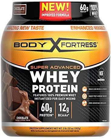 Body Fortress Super Advanced Whey Protein Powder, Gluten Free, Chocolate, 2 Pound