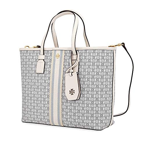 (Tory Burch Gemini Link Canvas Small Tote in New Ivory)