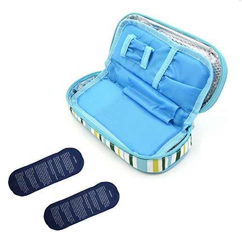 Liners Case Pack (TAWA Insulin Cooler Travel Case with 2 Ice Pack and Insulation Liner Working Time for 4-7 Hours(Light Blue))