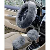 (GRAY)3 pcs/set Charm Warm Long Wool Plush car Steering Wheel Cover woolen Car Handbrake Accessory Newest
