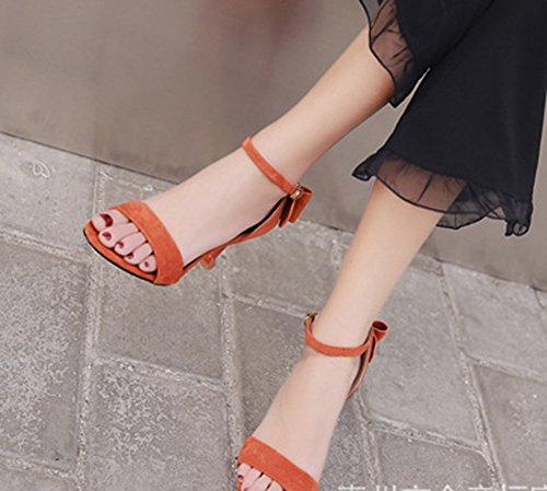 Cheville Noeud Lady Soirée Aisun heel Orange Sandales Bride Vintage Femme Kitten xIRnwBqAO