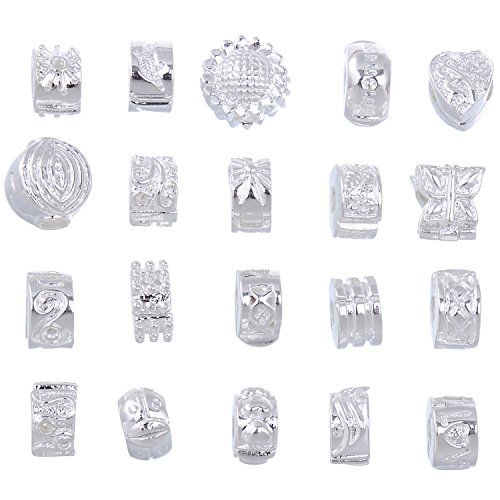(RUBYCA 20pcs Mix Lot of White Silver Plated Clip Lock Stopper Clasp Beads fit European Charm Bracelet)