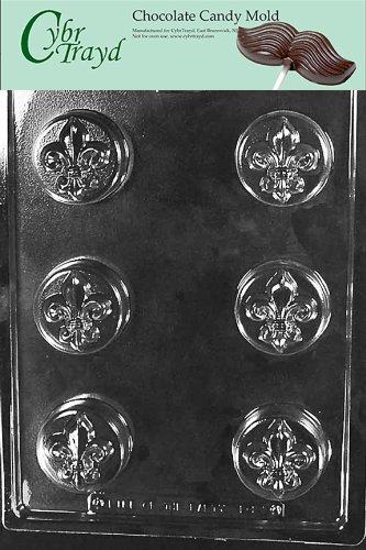 Cybrtrayd Life of the Party D101 Fleur De Lis Cookie Chocolate Candy Mold in Sealed Protective Poly Bag Imprinted with Copyrighted Cybrtrayd Molding -