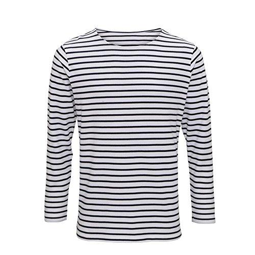 Asquith Fox Mens Mariniere Coastal Long Sleeve T-Shirt (2XL) (White/Navy) ()