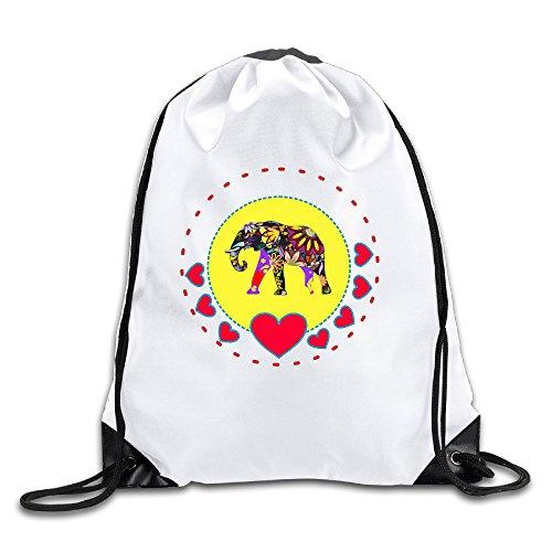 Cartoon Elephant 100% Polyester Fiber Drawstring Backpack One Size