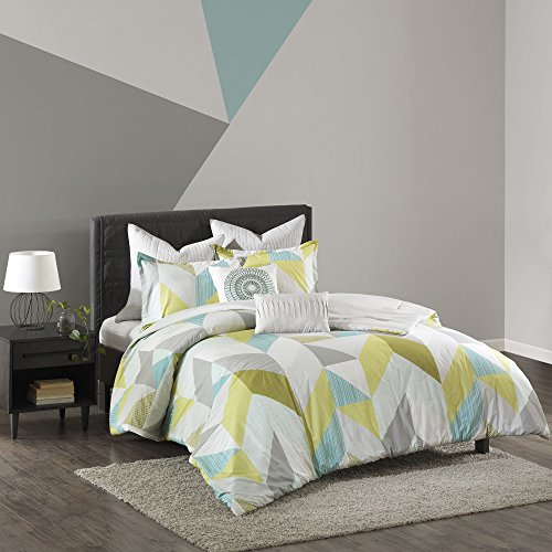 7 Piece Blue Green White Geometric Shape Comforter King Cal Set, Fun Allover Abstract Shapes Themed Bedding, Vibrant Lime Aqua Sage Grey Triangle Motif Pattern, Cotton
