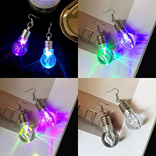 Accessory Photoelectric (TKHNE Korea will send colorful earrings transparent photoelectric light bulb Funny nightclub personality ear jewelry red disco Accessories)