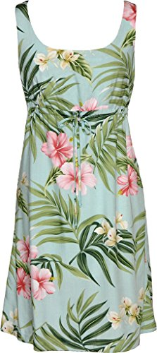 RJC Women's Breathtaking Island Getaway Short Hawaiian Empire Drawstring Tank Dress Aqua (Aqua Hawaiian Print)