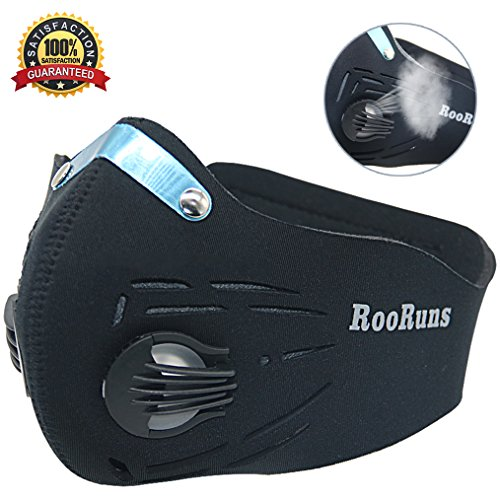 RooRuns Dust Mask, Running Mask Activated Carbon Filtration Exhaust Anti Pollen Allergy PM2.5 Dust-proof Mask for Biking, Woodworking, House Decorating and Other Outdoor Activities (Size: ()