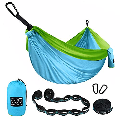 Gold Armour Camping Hammock - Extra Large Double Parachute Hammock (2 Tree Straps 16 Loops/10 ft Included) USA Brand Lightweight Portable Mens Womens Kids, Camping Accessories (Sky Blue/Lime Green)