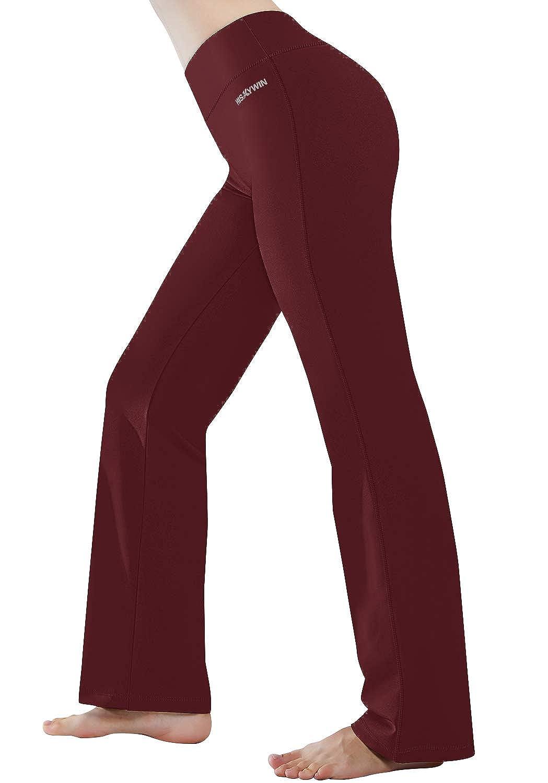 Bordeaux HISKYWIN Inner Pocket Yoga Pants 4 Way Stretch Tummy Control Workout Running Pants, Long Bootleg Flare Pants