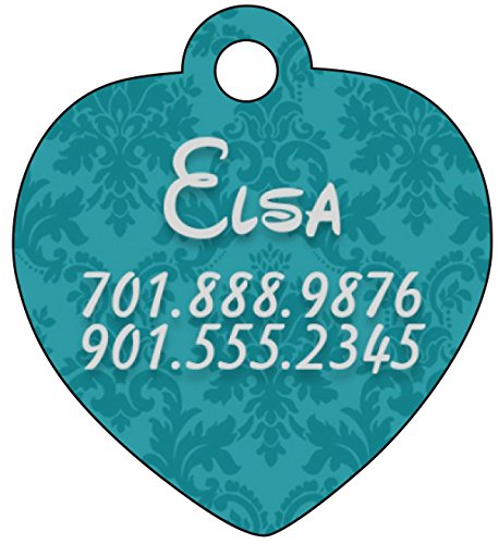 Personalized Dog Tag Cat Tag Pet Id Tag w/ Damask Floral Pattern, Blue (Heart Pattern Heart Personalized)