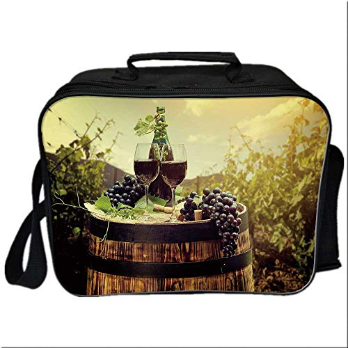 Wine Picnic Bag Cooler Bag,Scenic Tuscany Landscape with Barrel Couple of Glasses and Ripe Grapes Growth Decorative for Kids Boys Girls,10.6