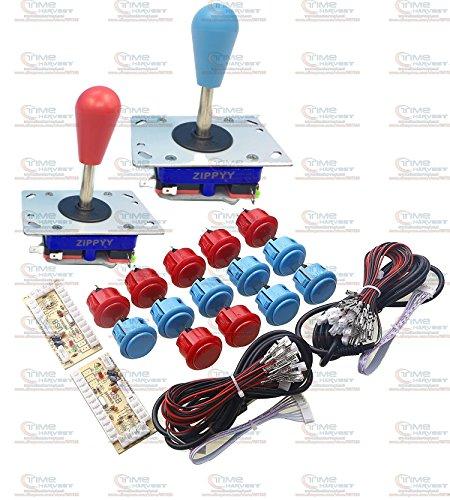 Free Shipping Arcade parts Bundles kit With Original Sanwa button 1 player Zero Delay USB Encoder Long Shaft Joystick Build Up Arcade Console