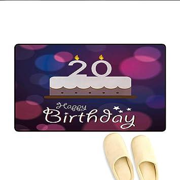 Amazon Door MatsTwenty Years Old Birthday Cake Cartoon Design