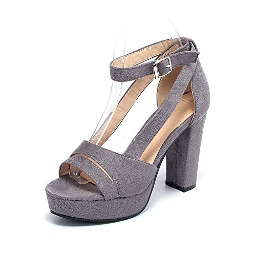 AllhqFashion Women's Imitated Suede Solid Buckle Open Toe High-Heels Sandals Gray