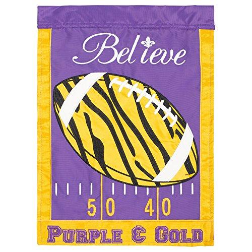 Magnolia Garden Believe Tiger Football Purple Gold 18 x 13 Spun Polyester Outdoor Garden Flag