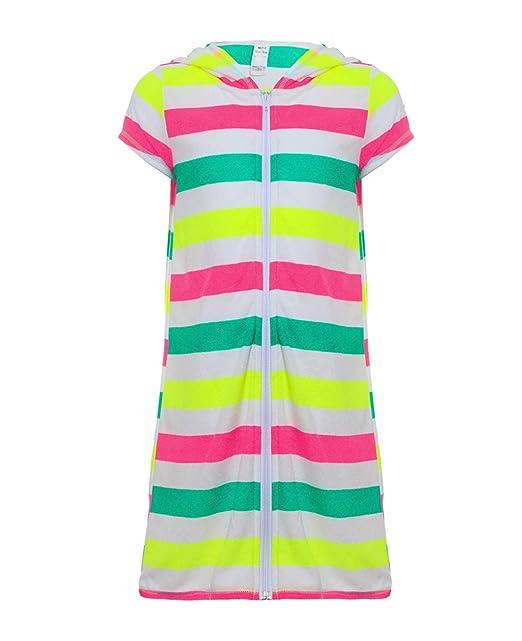 a6b84fe0901c4 UDIY Girls' Terry Cloth Swim Beach Cover Up Dress Hooded Zip Bathrobe,  Colorful Stripes