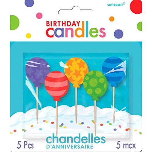 Party Time Molded Balloons Birthday Toothpick Candles, Pack of 5, Purple,Red,Yellow,Green,Blue , 2.5